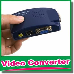 Wholesale Tv Video Signal System - New VGA To Video Universal PC VGA to TV AV RCA Signal Adapter Converter Video Switch Box Supports NTSC PAL system OM-CG8