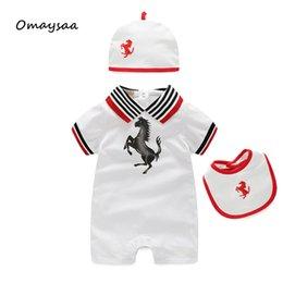 Wholesale White Summer Baby Hat - Baby Boy Clothing Set 2016 Baby Boys Girls 3 Pcs Clothing Set Short Sleeve Baby Rompers Hat Newborn Boy Clothes