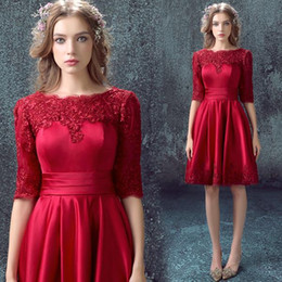 Wholesale Perfect Half - Perfect Burgundy Homecoming Dresses Lace Half Sleeve Satin Sheer A-Line Mini Knee Length 2018 Short Prom Dress Cocktail Party Club Wear