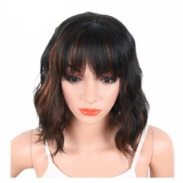 Wholesale Heat Resistant White Wig - Black Mix Brown Color Synthetic Wigs With Bangs For Black White Women Short Wavy Women's Hair Wigs Natural Heat Resistant