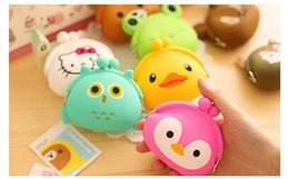 Wholesale Jelly Purses Free Shipping - 100pcs Cute Mini key Wallet bag Women Silicone Coin Purse Japanese Candy Color lovely Animals Jelly Silicone Coin bag By DHL Free shipping
