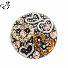 Wholesale Diy Slide Charms Hearts - 12pcs lot Chunky Snap Jewelry Charms Brown Rhinestone Heart 18mm Snap Buttons Ginger Snaps Bracelet DIY MIJ516
