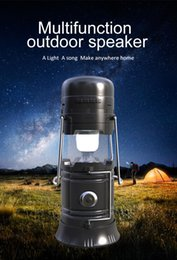 Wholesale Solar Mp3 Player - New Portable Outdoor Bluetooth Speaker LED Camping Lantern Solar Collapsible Light for Camping Hiking Wireless Speakers TF Card FM Radio DHL