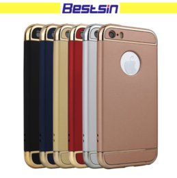 Wholesale plastic electroplating - Fashion Luxury Removable Hybrid 3 in 1 Electroplate Hard Plastic Case PC Electroplating Back Cover For iPhone 7 Plus 6 6S 5
