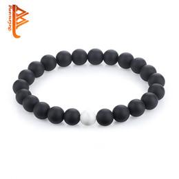 Wholesale Black Onyx Jewelry For Women - BELAWANG Couple Bracelets 8mm Natural Black&White Onyx  White Lave Stone Beaded Bracelet for Women Beads Mens Women Jewelry Christmas Gift
