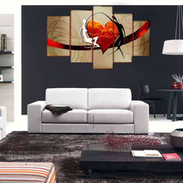Wholesale Art Abstract Painting Oil Lover - 5 Panel Romantic 100% Hand-painted Huge Abstract Oil Painting Lovers Heart On The Canvas Pictures Wall Art For Bedroom No Framed