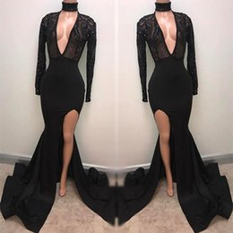 Wholesale Fabulous Dresses - Fabulous Fashion Black High Neck Prom Dresses 2018 Appliqued Long Sleeves Mermaid Plunging Sexy Split Evening Gowns Pageant Celebrity Dress
