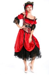 Wholesale Masquerade Queen Costume - Hight Quality Luxury Woman Pirate Queen Cosplay Costumes For Halloween Masquerade, Fancy Dress Masquerade Pirate Costume H015