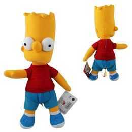 Wholesale Bart Simpson Plush - Anime Cartoon The Simpsons Bart Simpson Plush Toys Soft Stuffed Dolls 34cm Christmas Baby Gift 5PCS LOT New MK93 1230#30