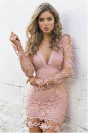 Wholesale sexy lace bow bodycon dress - 2017 Women Deep V-neck Long Sleeve Lace Floral dress backless Mini Bodycon Dress with bow belt Dresses Vestido