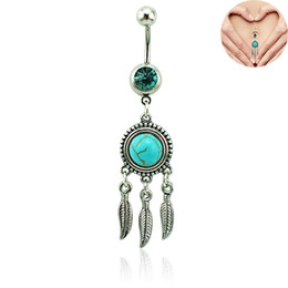 Wholesale Dream Catcher Navel Belly Ring - New Belly Button Rings 316L Surgical Steel Barbell Dangle Turquoise Dream Catcher Navel Rings Piercing Jewelry