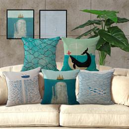 Große karikaturen online-Blue Ocean Kissenbezug Große personalisierte Cartoon Kissenbezug riesigen Blauwal Ocean Sailing Fish River Kissenbezug 240440