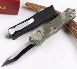 Wholesale Camo Double - OEM Mict troodon 616 tricolor double action camo black folding knife troodon knives tactical camping hunting folding knives 1pcs