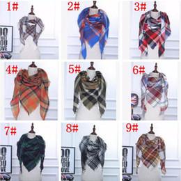 Wholesale Fashion Accessory Ponchos - Plaid Scarves Tartan Scarf Striped Fashion Wraps Check Grid Neckerchief winter 35 color Scarves Wraps Accessories MOQ 30 pcs