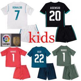 Wholesale White Soccer Shirt Kids - 2017 2018 Kids Real madrid soccer Jerseys kits 17 18 RONALDO SERGIO RAMOS white Black JAMES BALE RAMOS ISCO MODRIC Benzema football shirts