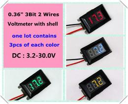 Atacado-Vermelho / Amarelo / Verde / Azul cores led Display Com Shell 0.36 Voltímetro Digital DC 3.2-30 V 2 fios 3 Bit Medidor de Tensão [12 pçs / lote] supplier digital voltmeter dc wire de Fornecedores de voltímetro digital dc fio