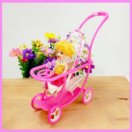 Wholesale Display Birthday Toys - Kids Birthday Gift Plastic Baby Stroller for Doll Dollhouse Furniture Pretend Play Simulation Baby Stroller Table Display Toys