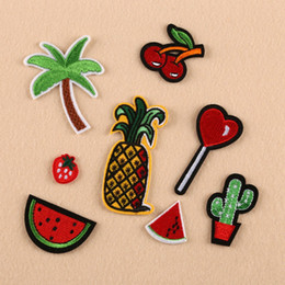 Wholesale Applique Badges Patches - Brand New 8Pcs Embroidery Donuts Fruit Sew Iron On Patch Badge Bag Clothes Fabric Applique 1 Set Free Shipping[CA12289]