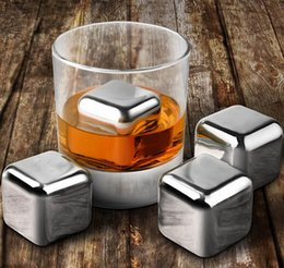 Wholesale Drunk Party - 1x1x1inch Stainless Steel Whiskey Stones Ice Cubes Soapstone Chillers Stone Drink Party Gift cold 200pcs