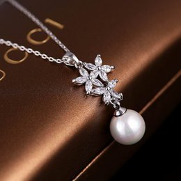 Wholesale Real Gold White Pearl Necklace - 2016 New design real gold plated high end AAA zircon pearl pendant necklace South Korea women fashion flower jewelry