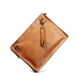 Wholesale Handmade Leather Card Wallet - Ruil 2017 New men wallet Top Quality england retro style personality handmade crazy-horse leather zipper Handbag Shoulder Bags