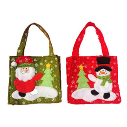 Wholesale Cloth Gift Wrap - Christmas Snowman Santa Claus Candy Gift bag Treat Bags Kids Present Wrap favors Bag party Holiday decor Gift Wrap red festive supplies