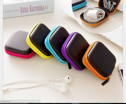 Wholesale Wholesale Square Chargers - Hot Sales Earphone Headphone Earbud usb Charger Adapter Coin Hard Zipper Carrying Pouch dustproof Case Colorful Protective Storage Case Bag
