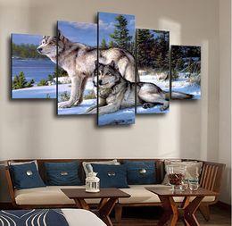 фотографии волков Скидка 5 шт HD напечатаны рисунок волка живопись на холсте украшения комнаты печать плакат картина холст стены искусства