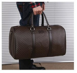 Wholesale Big Bags Men - Newest style hot sell men's classic fashion luggage plaid trim letters printed PU Canvas duffel bag big bag travel bag yzs168