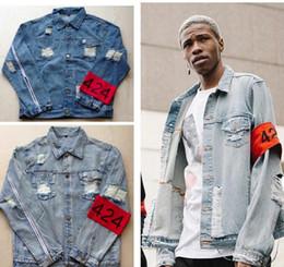 Wholesale Designer Brand Jackets - Hip-hop male jacket brand clothing the fear of god, four hundred and twenty-four spring summer 424 hole designer jeans denim jacket coat