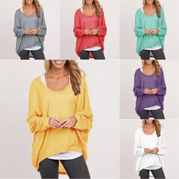Wholesale Red Dolman Sweater - tops for women crochet women's T-shirt multicolor sweater women clothes Scoop Neck Knits Tees Tops Tees Loose z64