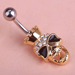 Wholesale Cool Belly Button Rings - New Skull Cool Body Navel Belly Button Piercing Rings White Opal Cat eye stone Beads Fashion Jewelry PC00003
