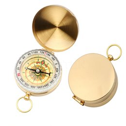 Wholesale Brass Navigation Compass - Outdoor Sports Camping Hiking Portable Brass Pocket Golden Multifunction Fluorescence Compass Navigation Watch Style Camping Compass