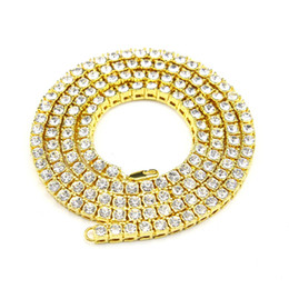 Wholesale Diamond Single Row - 2017 hot 18k gold silver black single row diamond Rhinestone necklace chain jewelry for fashion men