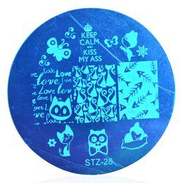 Wholesale Nail Art Cute Cartoon - Wholesale- 1 x Cute Cartoon Nail Stamping Plates Stencil Nail Art Stamp DIY Polish Beauty Manicure Nail Template Tools STZA28