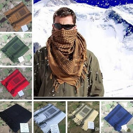 Wholesale Men Shemagh - 100% Cotton Thick Muslim Hijab Shemagh Tactical Desert Arabic Scarf Arab Scarves Men Winter Military Windproof Scarf