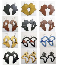 Wholesale Ladies Earrings Wholesale - Fashion Mixed styles Africa Map ANKH Love Wooden Wood Hip Hop Ladies Womens Earrings Free Shipping Wholesale