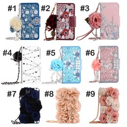 Wholesale Cards Pattern - Luxury Stereo Rose Flower Wallet Case Card slot Leather Phone Cover Colorful Flowers Pattern Cases For iPhone 8 7 6 plus Samsung S8