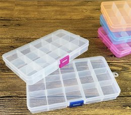 Wholesale Empty Box Nails - 15 Grids Nail Art Box Empty Divided Case Nail Tips Rhinestone Beads Gems Storage Box Case Clear Plastic c248