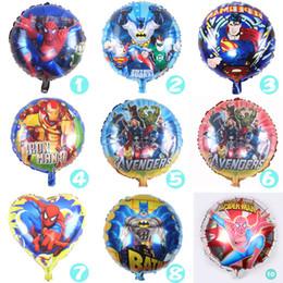 Wholesale Decorations For Birthdays - 18 inch Cartoon Spiderman Iron Man Batman Superman Balloon for Wedding Birthday Party Supplies Decoration Halloween Foil Balloons