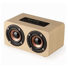 Wholesale Handsfree Bass - Fashion Dual-horn Wooden Bluetooth Speaker With Bass Music Sound Intelligent Calls Handsfree TF Card Aux Mode Voice Reminder.