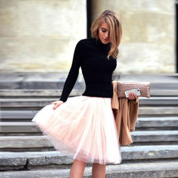 Argentina Rosa llano drapeado faldas de tul para las mujeres de cintura alta faldas hasta la rodilla faldas de primavera y verano vestidos de fiesta cortos faldas de las faldas del tutú de las mujeres cheap pink knee length tutus Suministro
