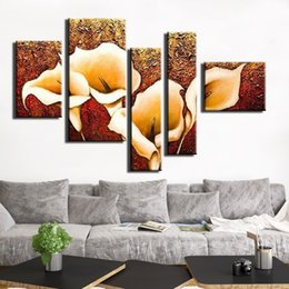 Wholesale Texture Canvas Oil Painting - Hand-painted Modern Thick texture canvas oil paintings abstract art flowers images 5pcs set unique home decorative