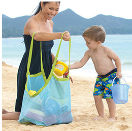 Wholesale Cheap Clothes Fabric - 45*30*45cm Cheap Children's Beach Dredging Tool Toy Storage Bag Mesh Bag Large Pouch Bag Sand Beach Bags Mesh Bag Tote