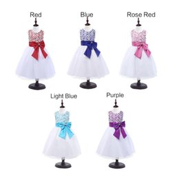 Wholesale Tutu Sizes For Kids - 2016 popular Kids Girls Lace Princess Pageant Sleeveless Wedding Bridesmaid Party Tutu Bow Dress 5 colors size 100-160 for girls 3-14 years