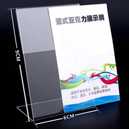 Wholesale Clear Tags - New 10pcs lot High Quality Clear 6x9cm L Shape Acrylic Table Sign Price Tag Label Display Paper Promotion Card Holder Stand