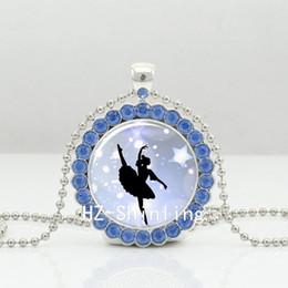 Wholesale Ballerina Jewelry Silver - New Ballerina Crystal Necklace Ballet Dance Pendant Glass Picture Jewelry Silver Crystal Pendant Necklace NDC-0032