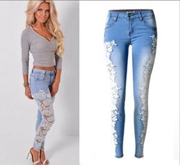 Frauen hohle jeans online-Top Fashion Patchwork Spitze Floral aushöhlen Frauen Jeans Casual Denim zerrissenen Loch Bleistift Hosen Fancyland Spitze Hose