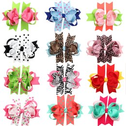 Wholesale Gift Satin Ribbon - 2016 HOT Christmas Halloween Gift Double Bowknot Leopard grain Hair Clips Handmade Hair Accessories Wholesale Satin 12 Styles Hair Ribbons