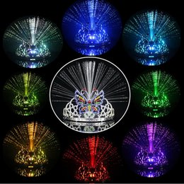 Wholesale Butterfly Party Decor - Fiber optic LED Night ligtht Colorful Light Flash 8 colors Changing Headgear Butterfly Crown Holiday Glow Toy Dancing Party Decor Lighting